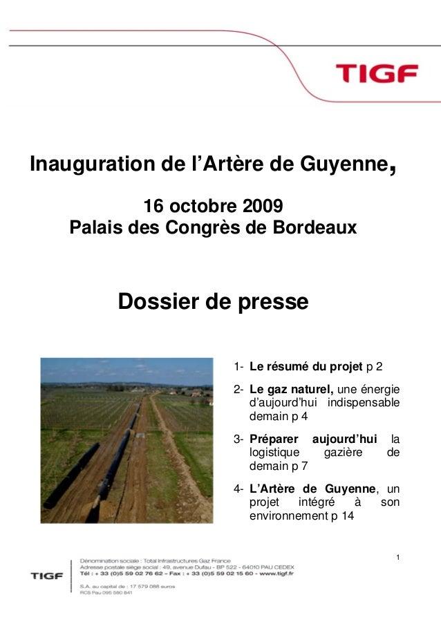 1 Inauguration de l'Artère de Guyenne, 16 octobre 2009 Palais des Congrès de Bordeaux Dossier de presse 1- Le résumé du pr...