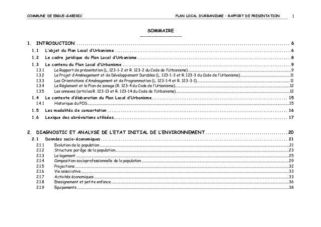 COMMUNE DE ERGUE-GABERIC  PLAN LOCAL D'URBANISME – RAPPORT DE PRESENTATION  1  SOMMAIRE ––––––––––––––––––  1. INTRODUCTIO...