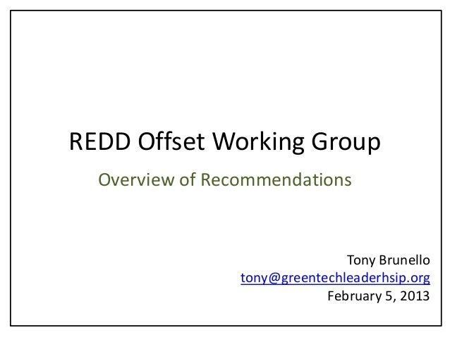REDD Offset Working Group -  Overview of Recommendations