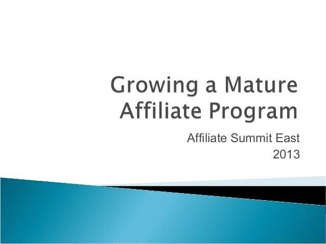 Growing a Mature Affiliate Program