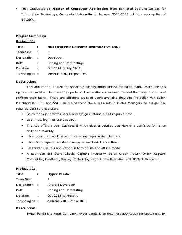 Android Application Developer 2 0exp Resume