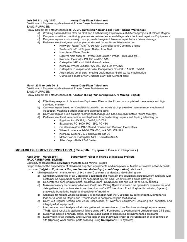 abners resume 06 2012 resume hydraulic mechanic - Hydraulic Mechanic Sample Resume