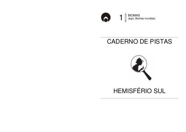 BIOMAS  1 Jogo: Biomas mundiais  BIOLOGIA  CADERNO DE PISTAS  HEMISFÉRIO SUL