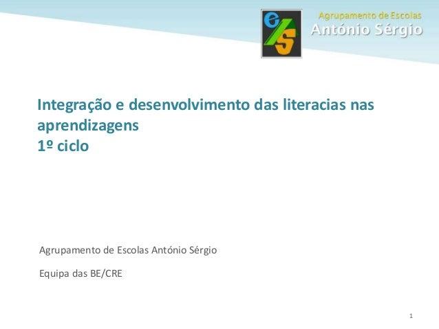 1 Agrupamento de Escolas António Sérgio Equipa das BE/CRE Integração e desenvolvimento das literacias nas aprendizagens 1º...