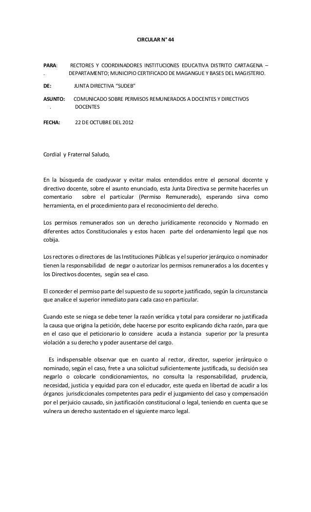 CIRCULAR N° 44PARA:     RECTORES Y COORDINADORES INSTITUCIONES EDUCATIVA DISTRITO CARTAGENA –.         DEPARTAMENTO; MUNIC...
