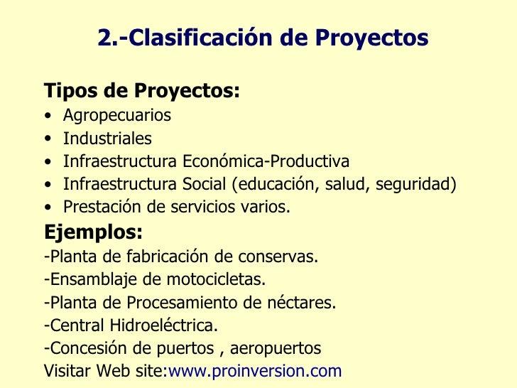 clasificación de proyectos ul li tipos de proyectos li