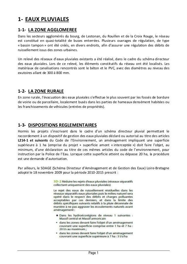 1- EAUX PLUVIALES 1-1- LA ZONE AGGLOMEREE Dans les secteurs agglomérés du bourg, de Lestonan, du Rouillen et de la Croix R...