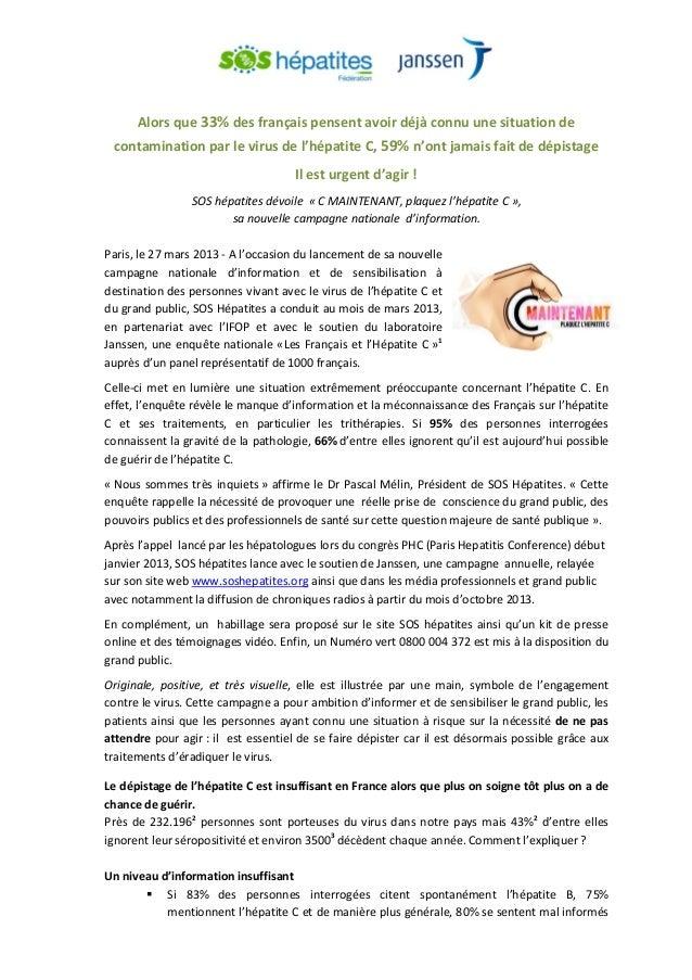 Alors que 33% des français pensent avoir déjà connu une situation de contamination par le virus de l'hépatite C, 59% n'ont...