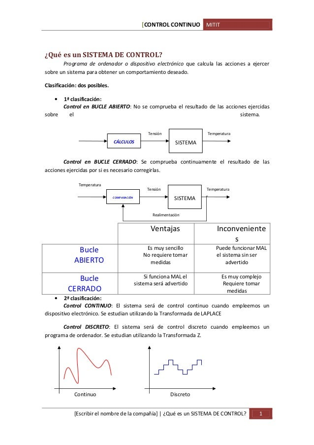 [CONTROL CONTINUO MITIT¿Qué es un SISTEMA DE CONTROL?       Programa de ordenador o dispositivo electrónico que calcula la...