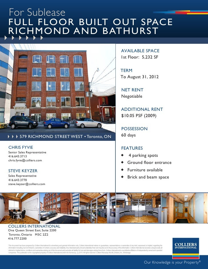 For Sublease FULL FLOOR BUILT OUT SPACE RICHMOND AND B ATHURST                                                            ...