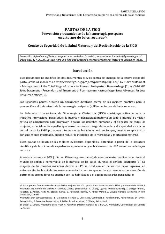 PAUTAS DE LA FIGO Prevención y tratamiento de la hemorragia postparto en entornos de bajos recursos  PAUTAS DE LA FIGO Pre...