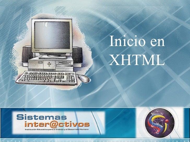 Inicio en XHTML