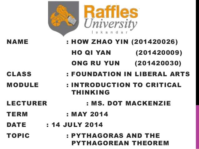 NAME : HOW ZHAO YIN (201420026) HO QI YAN (201420009) ONG RU YUN (201420030) CLASS : FOUNDATION IN LIBERAL ARTS MODULE : I...