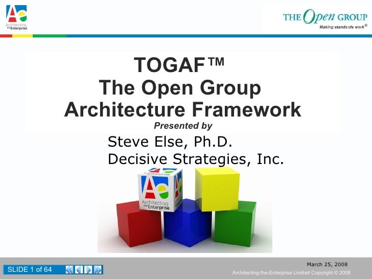 TOGAF™  The Open Group  Architecture Framework Presented by Steve Else, Ph.D. Decisive Strategies, Inc.