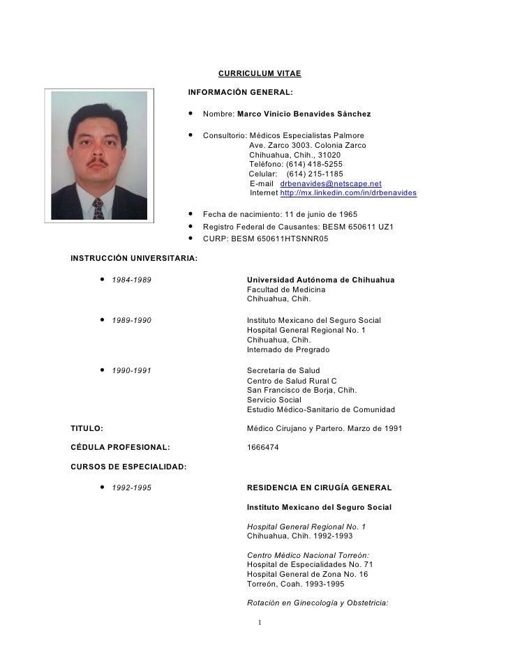 CURRICULUM VITAE                            INFORMACIÓN GENERAL:                            •   Nombre: Marco Vinicio Bena...