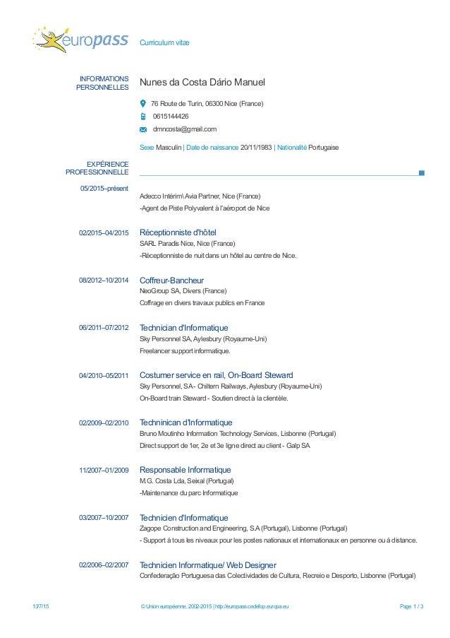 Curriculum vitæ INFORMATIONS PERSONNELLES Nunes da Costa Dário Manuel 76 Route de Turin, 06300 Nice (France) 0615144426 dm...