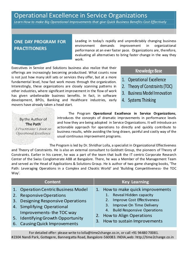Operational Excellence in Service Organizations Learn How to make Big Operational Improvements that give Quick Business Be...