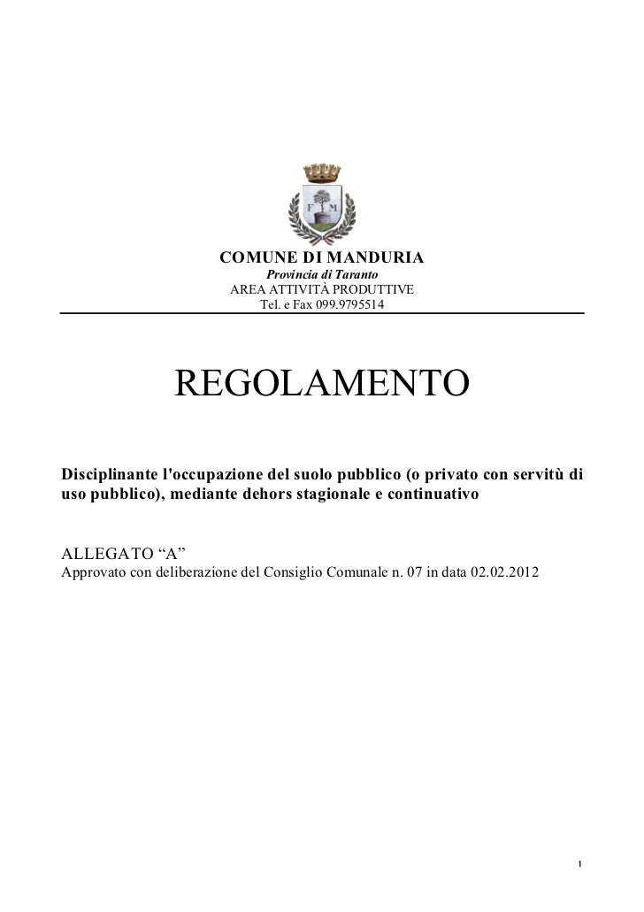 COMUNE DI MANDURIA                              Provincia di Taranto                          AREA ATTIVITÀ PRODUTTIVE    ...