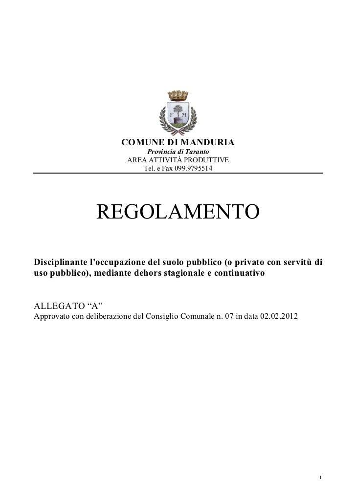Regolamento vigente del Comune di Manduria sui Dehors