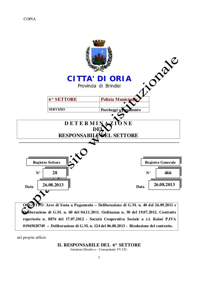 1 COPIA CITTA' DI ORIA Provincia di Brindisi 6^ SETTORE Polizia Municipale SERVIZIO Parcheggi a pagamento D E T E R M I N ...