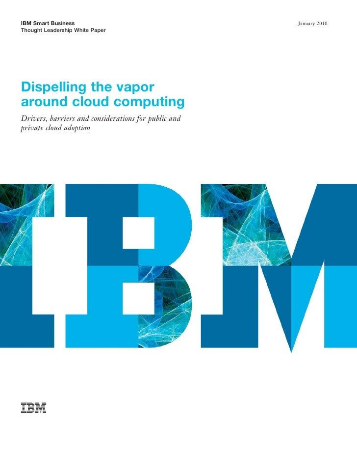 Dispelling The Vapor Around Cloud Computing –Network Management