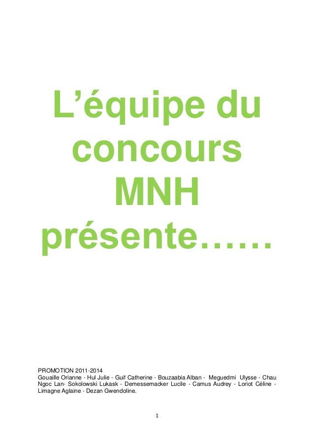 1 L'équipe du concours MNH présente…… PROMOTION 2011-2014 Gouaille Orianne - Hul Julie - Guif Catherine - Bouzaabia Alban ...
