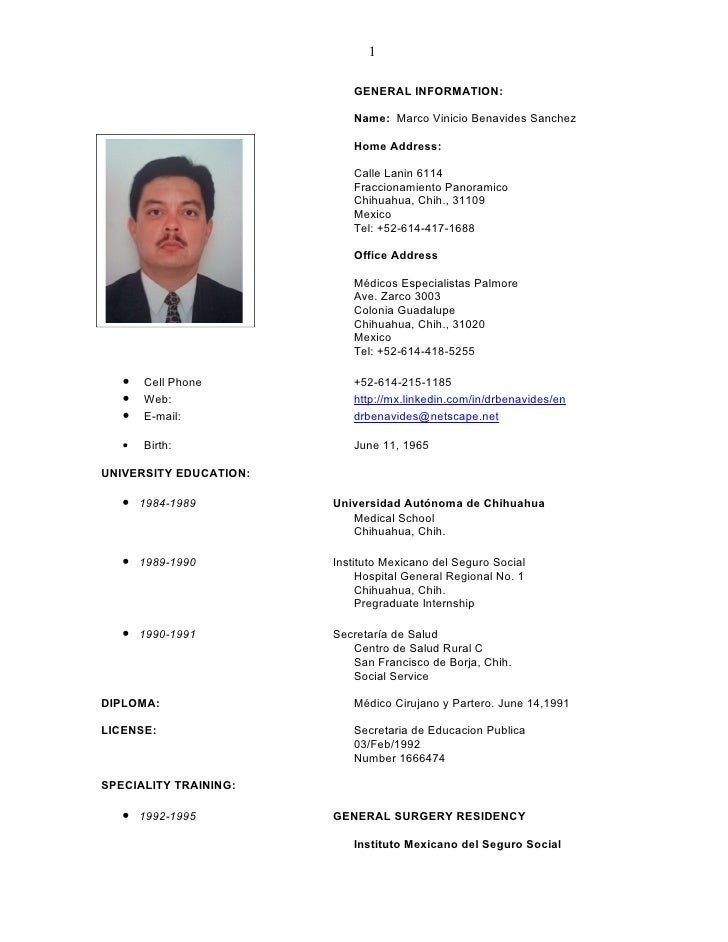 1                             GENERAL INFORMATION:                             Name: Marco Vinicio Benavides Sanchez      ...