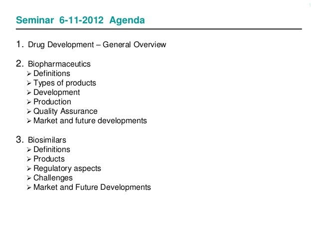 1Seminar 6-11-2012 Agenda1. Drug Development – General Overview2. Biopharmaceutics Definitions Types of products Develo...