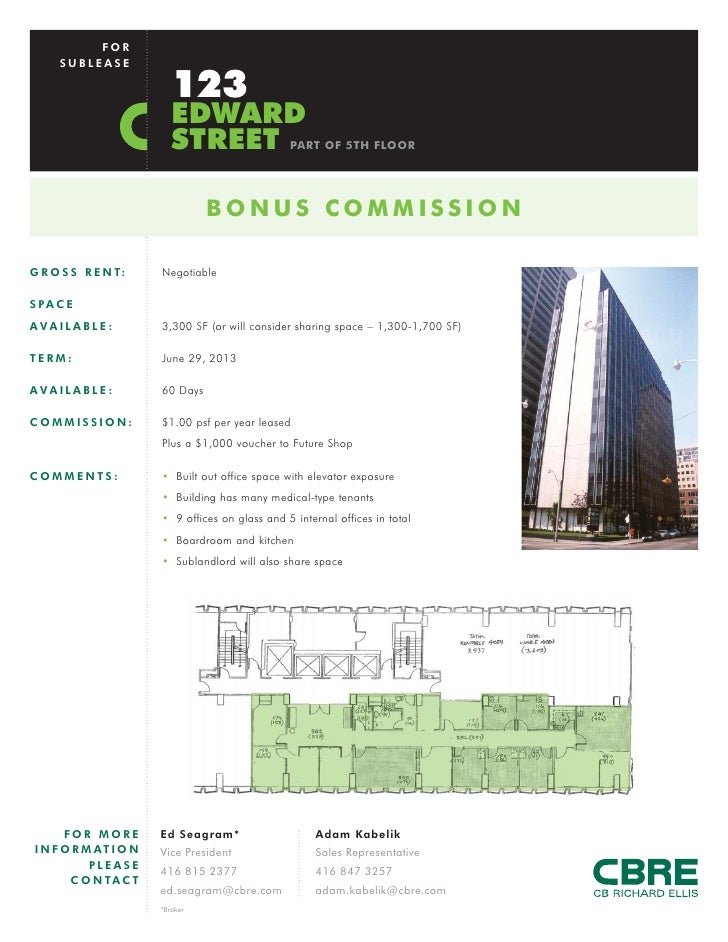 FOR      SUBLEASE                            123                           EDWARD                           STREET        ...