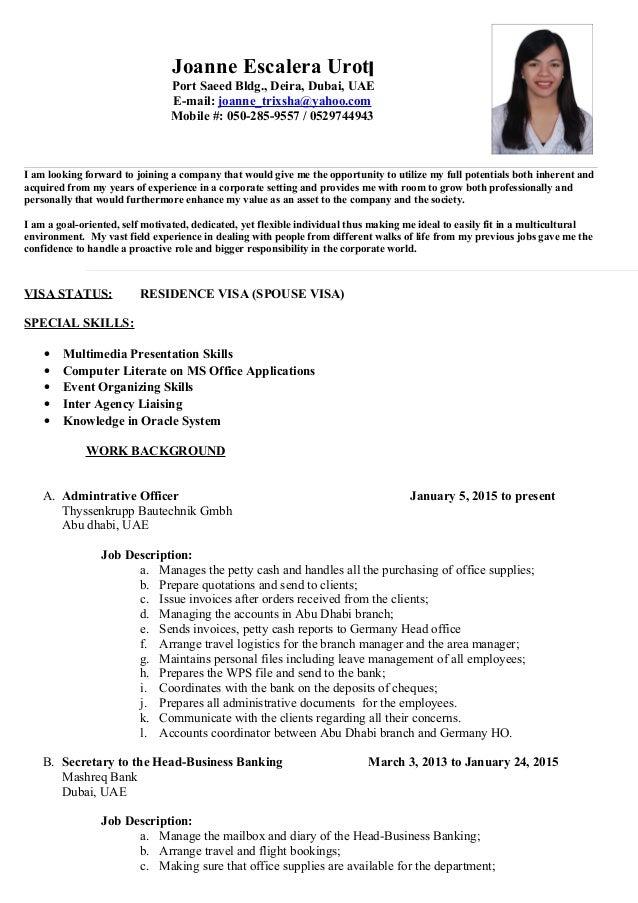 resume for office jobs