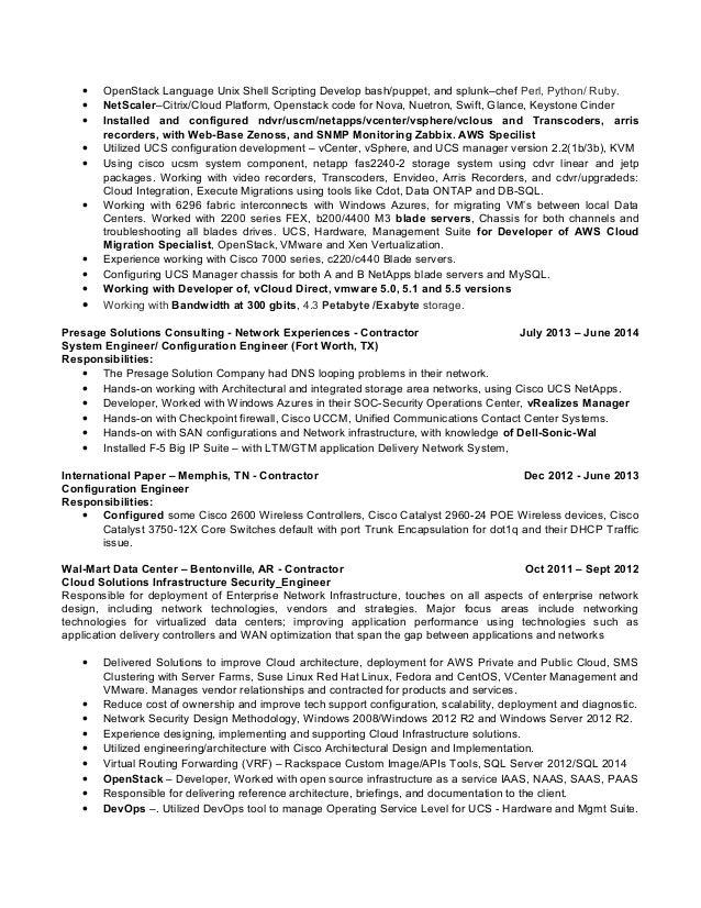 Resume unix engineer