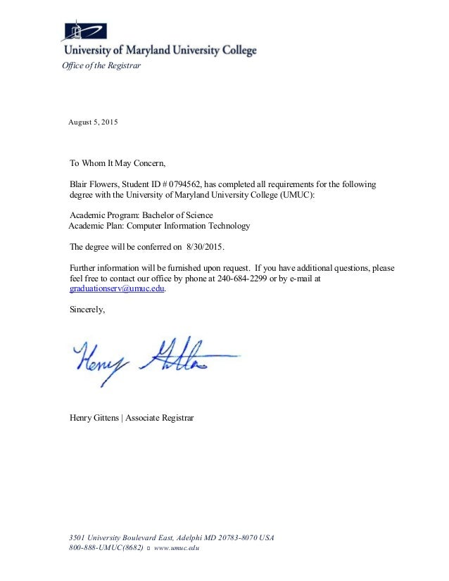 Blair Flowers Letter Of Graduation With Bachelor Of