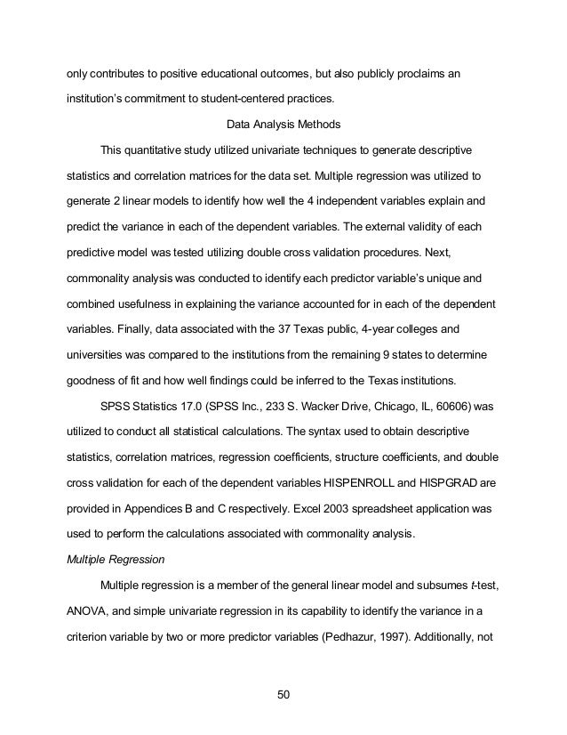 College choice and dissertation