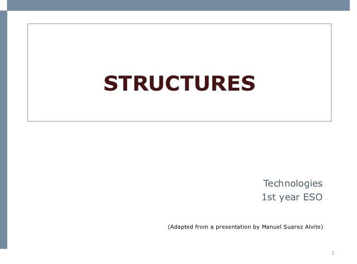 STRUCTURES Technologies 1st  year  ESO (Adapted from a presentation by Manuel Suarez Alvite)
