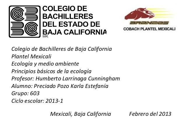 Colegio de Bachilleres de Baja CaliforniaPlantel MexicaliEcología y medio ambientePrincipios básicos de la ecologíaProfeso...