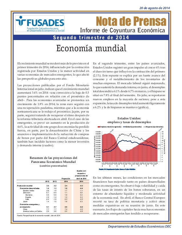 Nota de Prensa  Informe de Coyuntura Económica  Segundo trimestre de 2014  Economía mundial  Resumen de las proyecciones d...