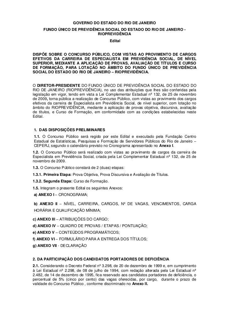 GOVERNO DO ESTADO DO RIO DE JANEIRO      FUNDO ÚNICO DE PREVIDÊNCIA SOCIAL DO ESTADO DO RIO DE JANEIRO -                  ...