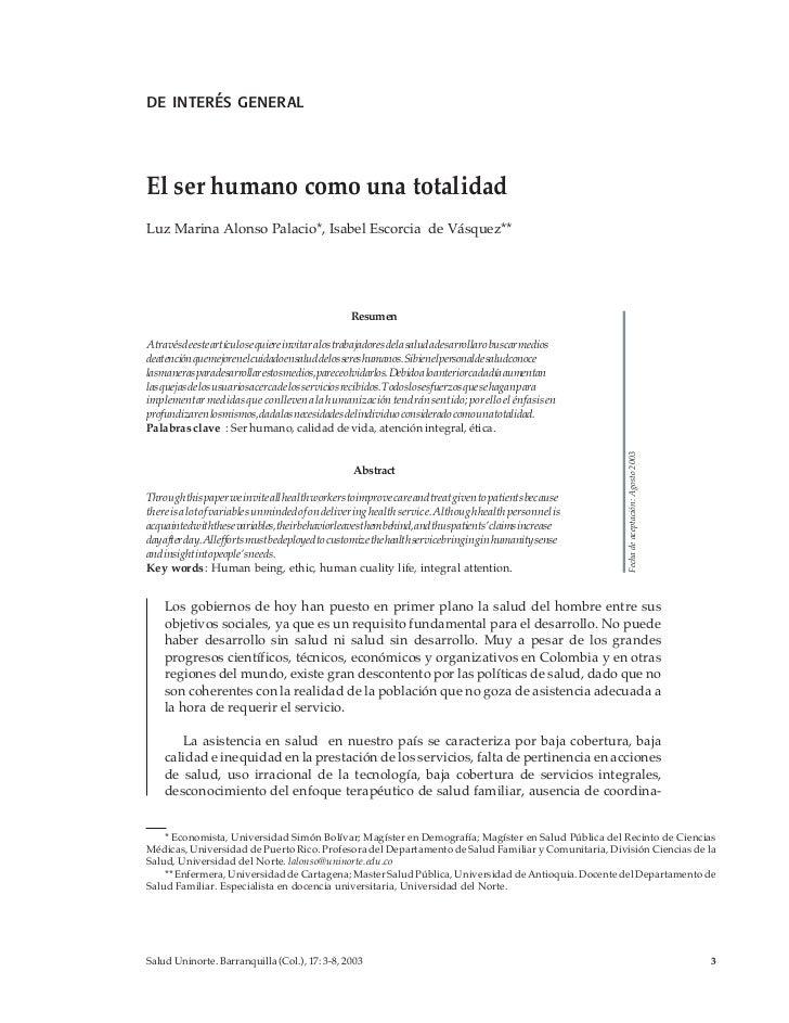 de interés generalEl ser humano como una totalidadLuz Marina Alonso Palacio*, Isabel Escorcia de Vásquez**                ...