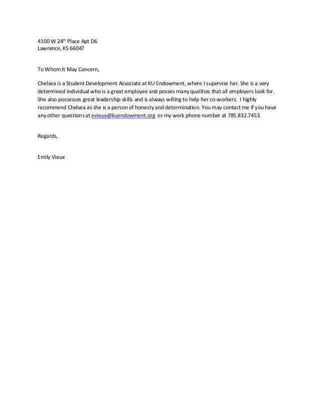 emily vieux (ku endowment manager) recommendation letter