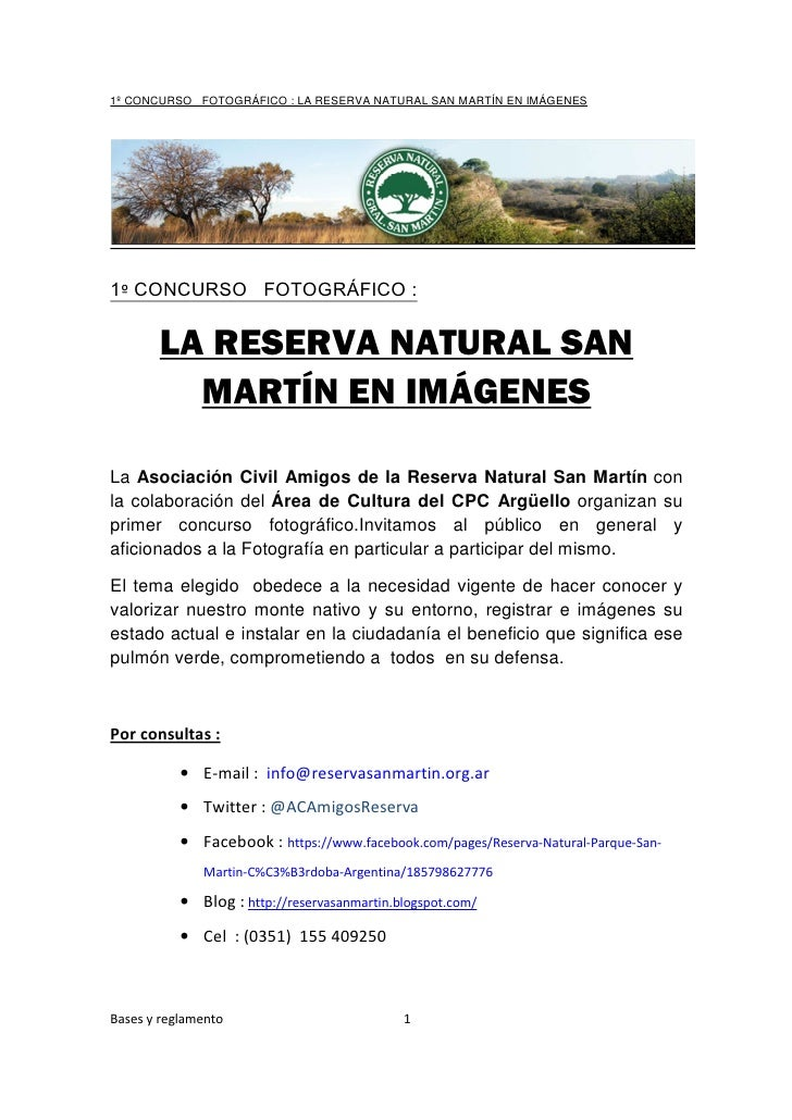 1º CONCURSO FOTOGRÁFICO : LA RESERVA NATURAL SAN MARTÍN EN IMÁGENES1º CONCURSO FOTOGRÁFICO :       LA RESERVA NATURAL SAN ...