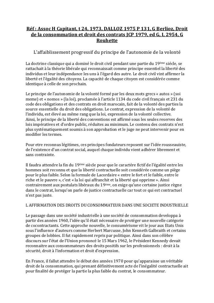 Réf : Assoc H Capitant, t 24, 1973, DALLOZ 1975 P 131, G Berlioz, Droit de la consommation et droit des contrats JCP 1979,...