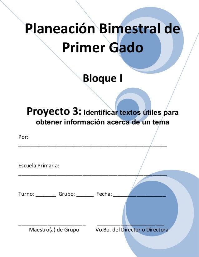 1er grado   bloque i - proyecto 3