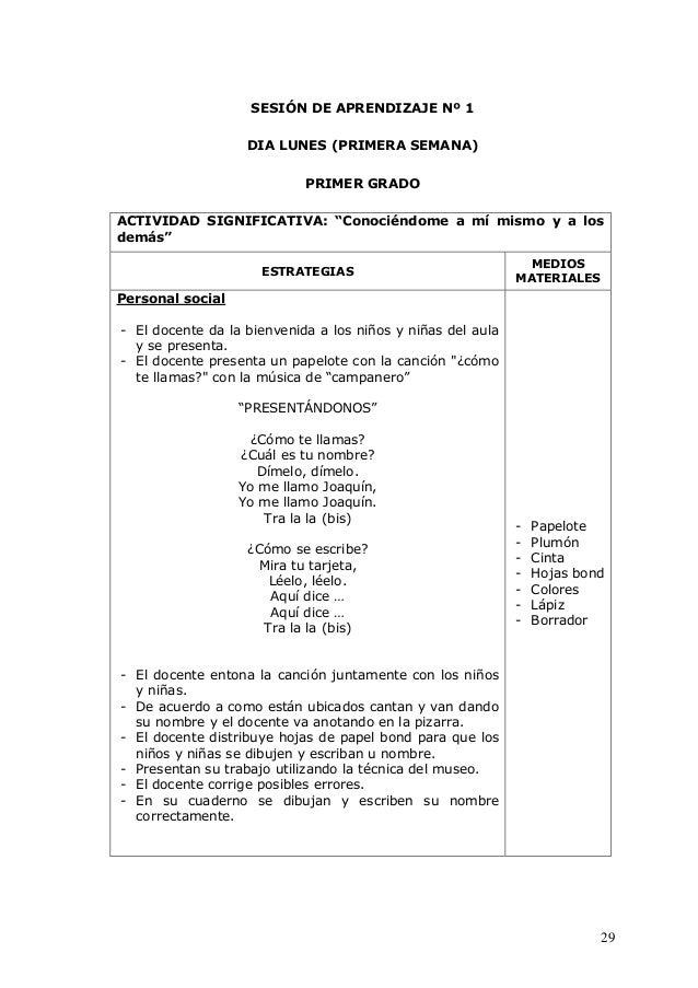 """29 SESIÓN DE APRENDIZAJE Nº 1 DIA LUNES (PRIMERA SEMANA) PRIMER GRADO ACTIVIDAD SIGNIFICATIVA: """"Conociéndome a mí mismo y ..."""