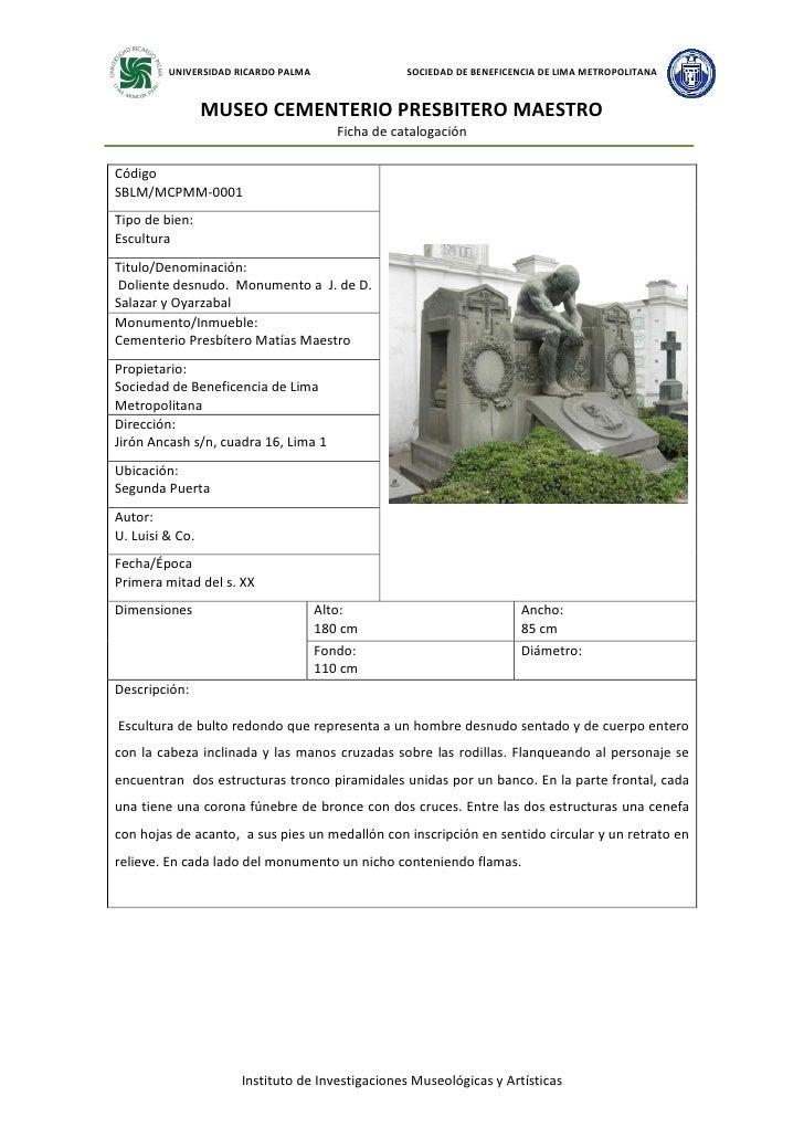 1er inventario de esculturas  cementerio presbítero maestro dic 08