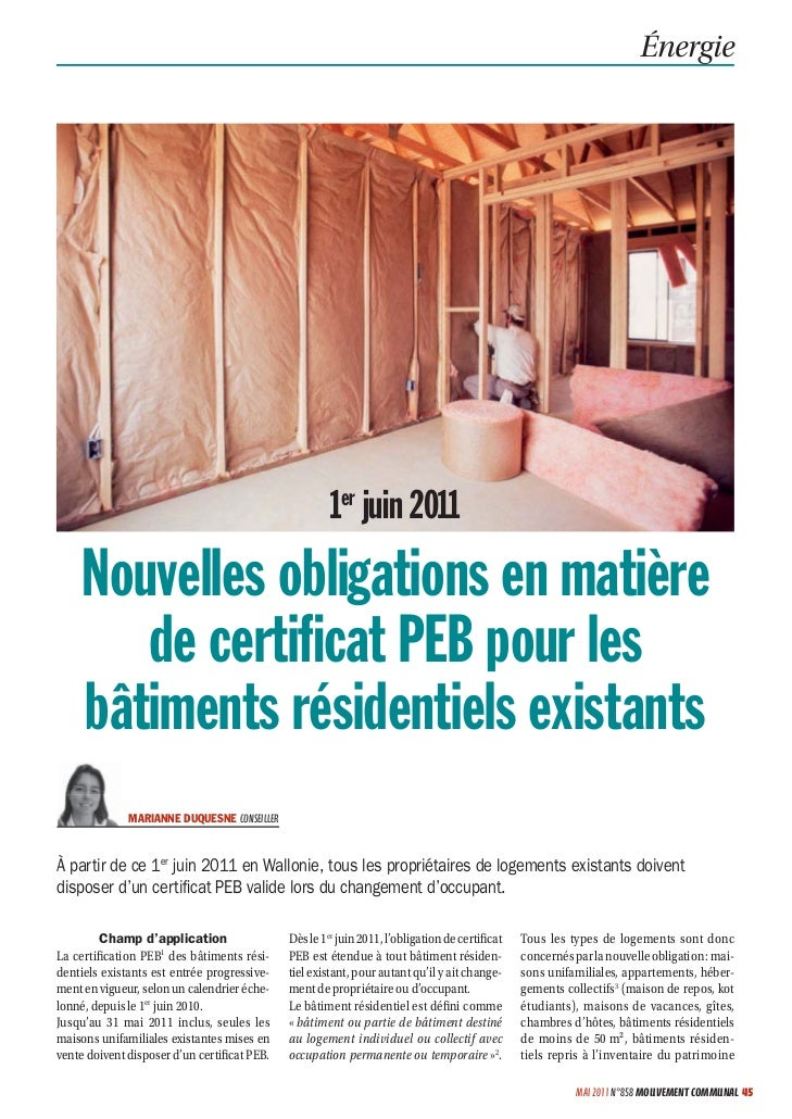 Énergie                                                       1er juin 2011     Nouvelles obligations en matière        de...