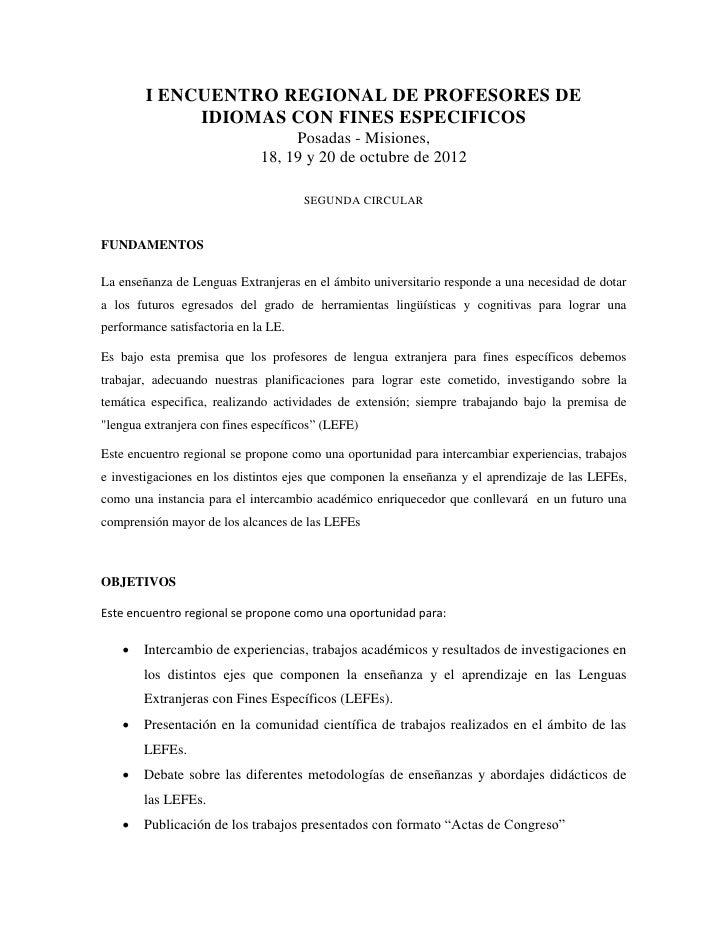 I ENCUENTRO REGIONAL DE PROFESORES DE             IDIOMAS CON FINES ESPECIFICOS                                   Posadas ...