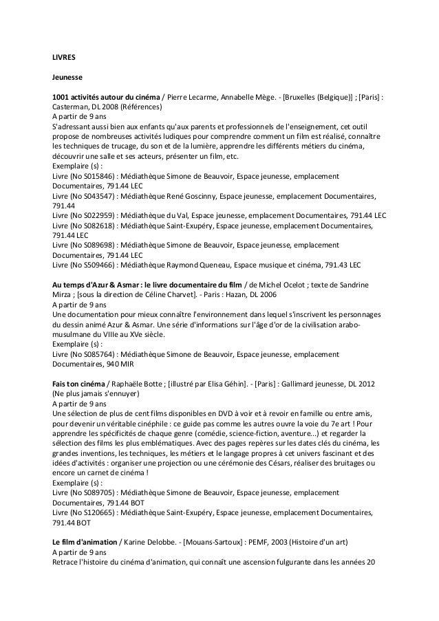 LIVRES Jeunesse 1001 activités autour du cinéma / Pierre Lecarme, Annabelle Mège. - [Bruxelles (Belgique)] ; [Paris] : Cas...