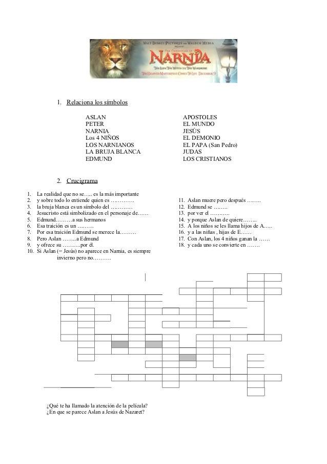 1. Relaciona los símbolos                           ASLAN                              APOSTOLES                          ...