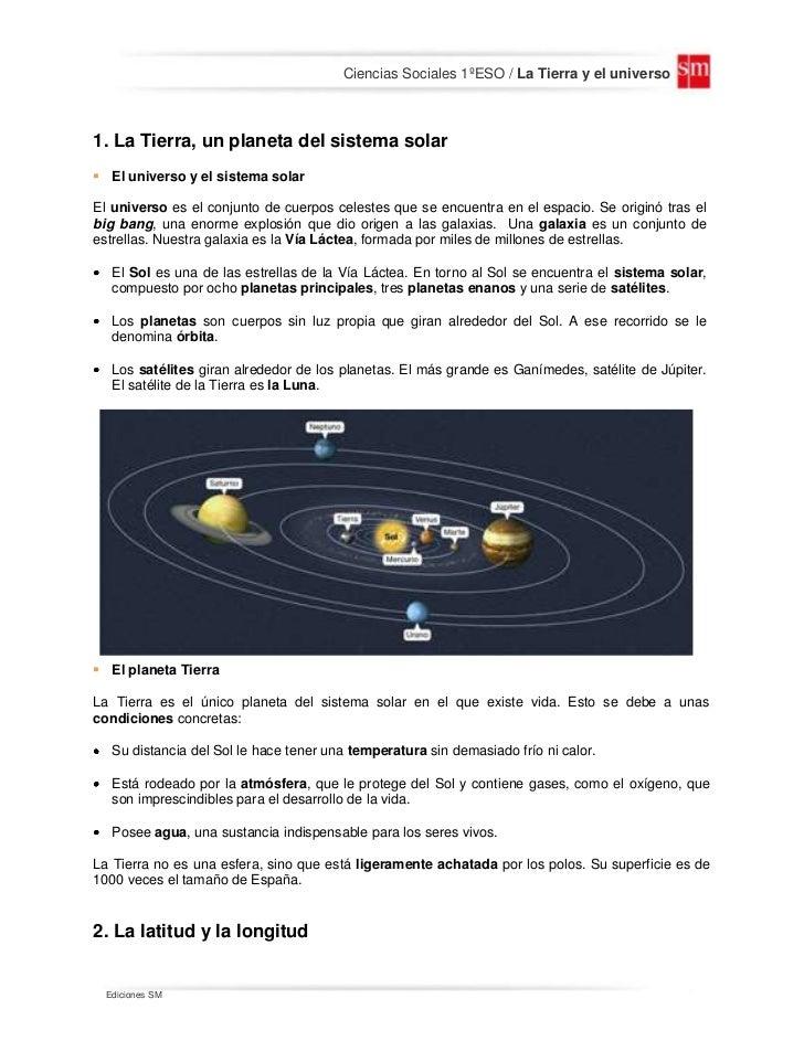 Ciencias Sociales 1ºESO / La Tierra y el universo1. La Tierra, un planeta del sistema solar El universo y el sistema sola...