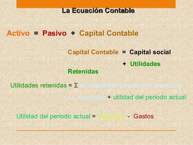 La Ecuación ContableLa Ecuación Contable Activo = Pasivo + Capital Contable Capital Contable = Capital social + Utilidades...